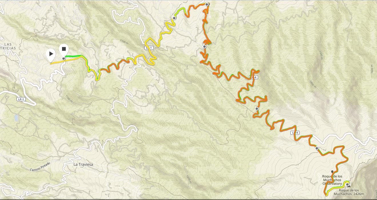 La montée au Roque - 2h23 46,3km +1593m - 1h18 grimpée depuis la croisée avec la LP1