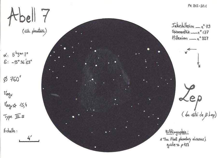 Abell 7 planetary nebula in Lepus